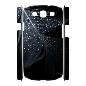 3D Samsung Galaxy S3 Cases, Raindrops On Dark Feather Girl Cases For Samsung Galaxy S3 {White}