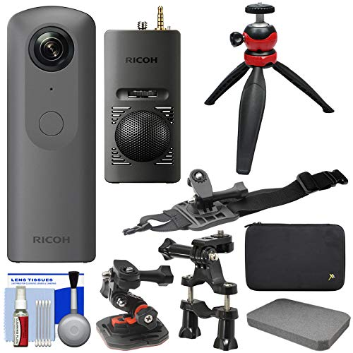 Ricoh Theta V 360-Degree Spherical 4K HD Digital Camera with TA-1 3D Microphone + Case + Action Mounts + Tripod + Kit ()