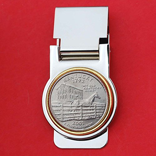 US 2001 Kentucky State Quarter Coin Hinged Money Clip NEW