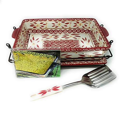 Temp-tations 4 Qt Baker Casserole Dish (13x9) w/Cookie Sheet(Lid-It), Cover, Server, Rack (Old World Cranberry)
