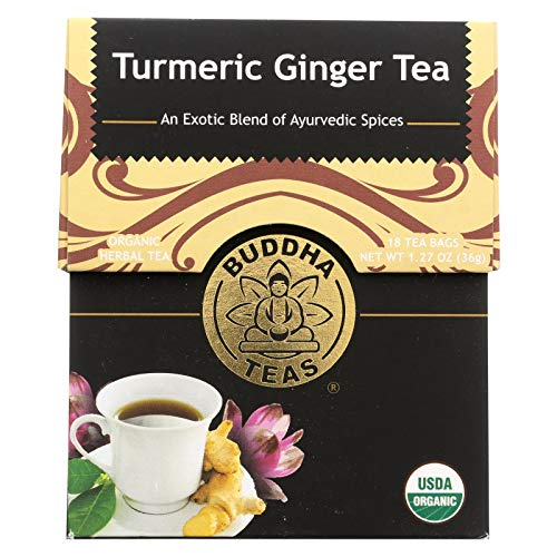 Buddha Tea Turmeric Ginger, 18 Bleach-Free Tea Bags, Pack of 6