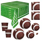 football birthday party - Deluxe Football Party Supplies Pack - Serves 16 - Dinner and Dessert Plates, Cups, Napkins and Tablecloth for Game Day or Birthday