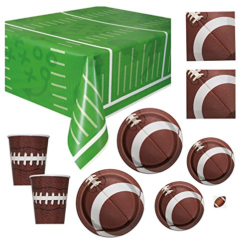 Deluxe Football Party Supplies Pack - Serves 16 - Dinner and Dessert Plates, Cups, Napkins and Tablecloth for Game Day or (Football Themed Birthday)