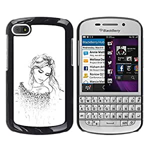 For BlackBerry Q10 Case , Blonde Fashion Tattoo White Clean - Diseño Patrón Teléfono Caso Cubierta Case Bumper Duro Protección Case Cover Funda