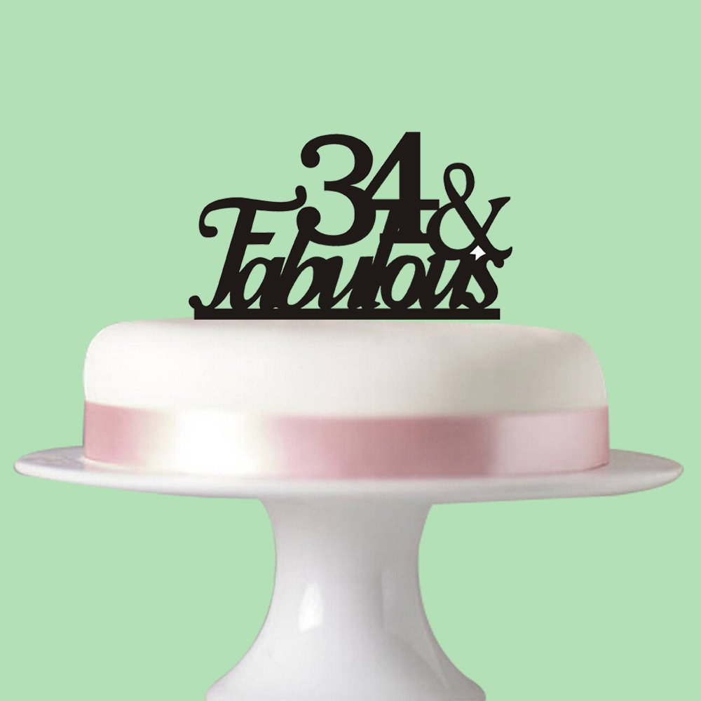 Amazon 34 Fabulous Cake Topper For 34th Birthday Party