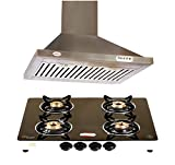 brightflame 4 Burner Black Stainless Steel Glass Top Manual & Kitchen Chimney Lotus Stainless Steel 60CM 1100m3/hr with Lifetime Warranty