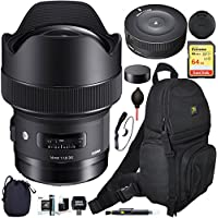 Sigma 14mm F1.8 DG HSM Art Wide Angle Full Frame Lens for Canon EF Mount Camera (450954) with USB Dock, Sling Shoulder Bag, Cleaning Kit, Pouch, and SanDisk 64GB SDXC Memory Card Bundle