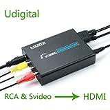 RCA Svideo to HDMI converter adapter,Udigital 3RCA AV CVBS Composite SVideo RL Audio to HDMI Converter Adapter Upscaler Support 720P/1080P N64 Sega Genesis?