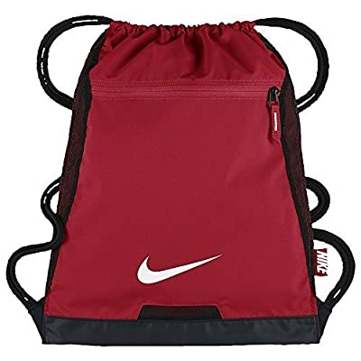 NIKE Alpha Adapt Team Training Drawstring Gymsack Backpack 600 Denier Sport Bookbag (University Gym Red with Signature White Swoosh)
