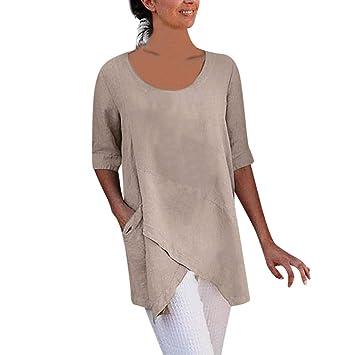 8dd23b53f5402a Amazon.com  Women s Cross Design Tops Half Sleeve Cotton And Linen ...