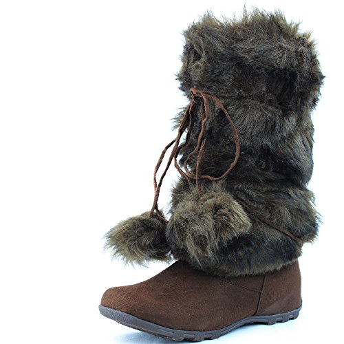 Womens DailyShoes Warmer-02 Mukluk Boots Faux Fur Round Toe Ankle High Winter Bootie Brown Suede (Simple Edition) B3A2Q1