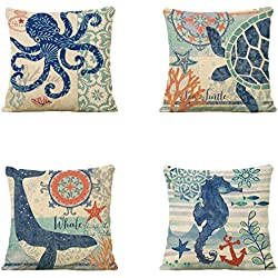 BPFY 4 Pack Mediterranean Style Beach Decor Sofa Throw Pillow Case Set of 4 Cushion Cover 18 x 18 Inch Cotton Linen
