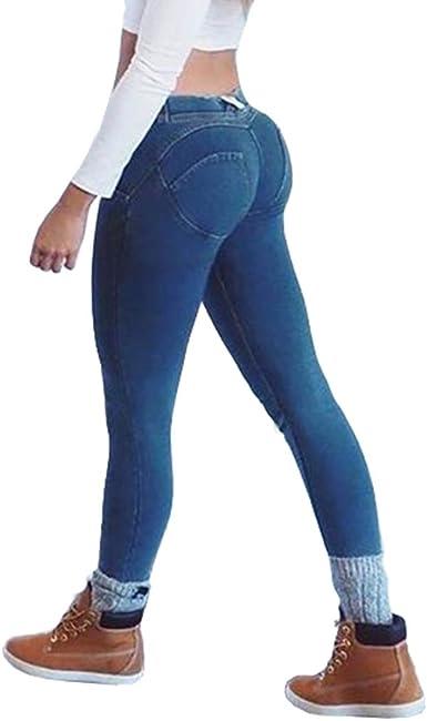 Hibote Jeans Para Mujer Moda Slim Fit Elastico Flacos Ajustados Leggings Cintura Media Push Up Casual Mezclilla Pantalones Con Bolsillos Amazon Es Ropa Y Accesorios
