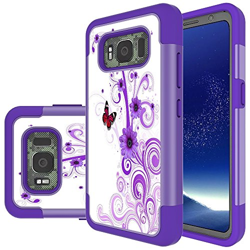 Galaxy S8 Active Case, MicroP Hybrid Dual Layer Silicone Plastic Armor Defender Phone Case Cover for Samsung Galaxy S8 Active (2017) (Armor Purple Flower)