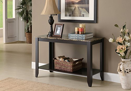 (Monarch Specialties Marble Look Top Sofa Console Table, 44-Inch, Cappuccino)