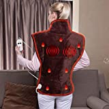 Tefici Super Soft Flannel Massage Heating Wrap with Auto Shut Off,Fast-Heating Tech and Overheating Protection,Vibration Massage for Stress and Back Pain Relief(26''×33'')