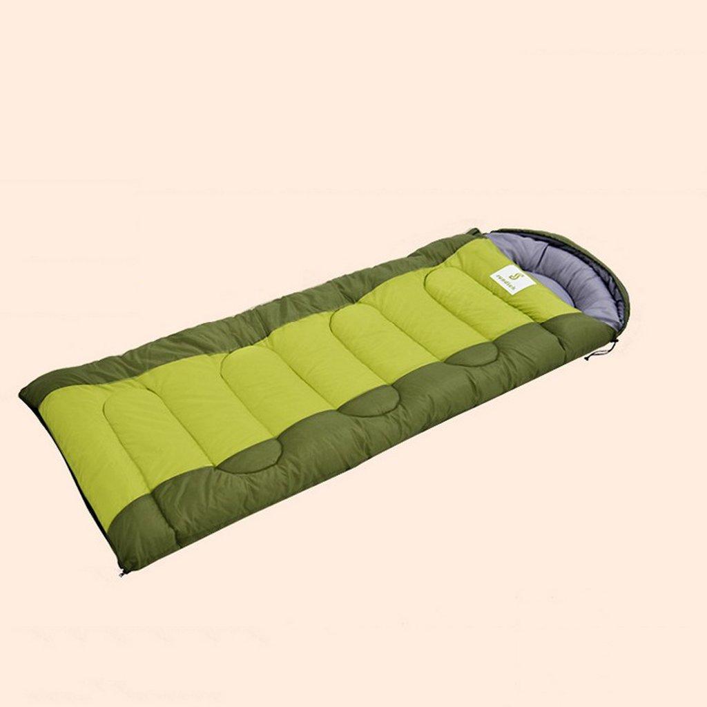 Hemaodi Erwachsene Einzel 1.15kg Baumwolle Drei Jahreszeit tragbare Camping Sleeping Bag - Wasserdicht , Hohl Baumwolle, leicht zu reinigen-Blau & Grün