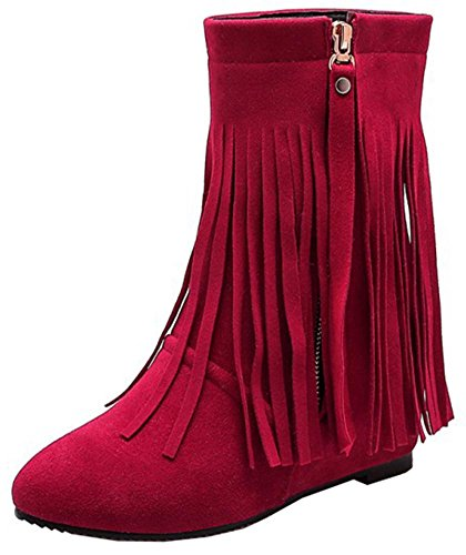 Easemax Women's Sweet Fringe Side Zipper Pointy Toe High Wedged Heels Inside Ankle High Boots Red 9eYinsX