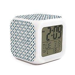 HOTMN Cute Cartoon Lattice Pig Style Fashion Multifunction Digital Desk Alarm Clock with LED Touch Light Desk Watch Table Clock