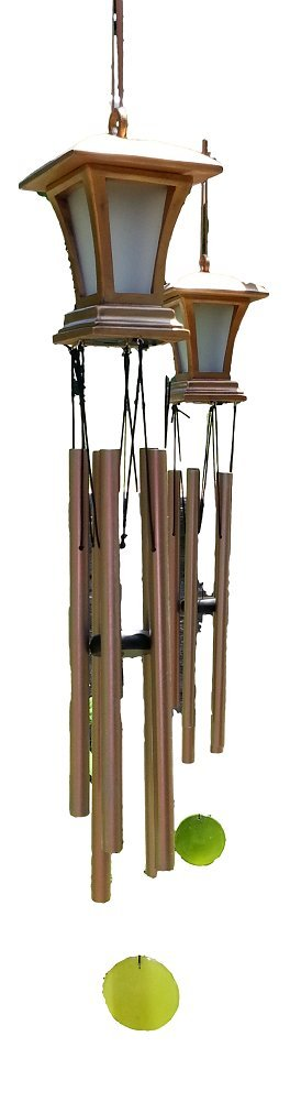 New Set of 2 Wind Chimes, Solar Powered Antique Like Lanterns with LED Lights for a Soft Decorative Glow in Your Garden Front Yard Backyard Patio Porch or Landscape. 5 Aluminum Tubes Add Soft Tones. Enhances Your Outdoor Décor. Battery Included. by Ready Home