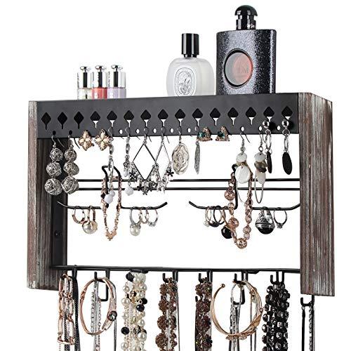 JackCubeDesign Rustic Wood Wall Mount Jewelry