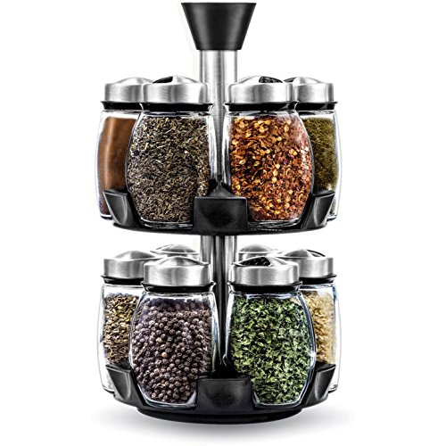 Belwares Herb and Spice Rack with 12 Glass Jar Bottles - Revolving Countertop Carousel Herbs and Spices Set for Kitchen Counter