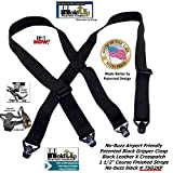 Holdup Suspender Company's All black No-buzz Airport Friendly X-back Suspenders with Patented composite plastic Gripper Clasps