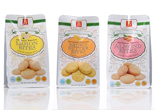 Biscotti Bite Size Cookies by The Bites Company- Premium, Certifies Organic and Kosher, Peanut and Preservative Free – 4.5 Oz. bag Variety Pack – Almond, Lemon, Brown Butter Flavors (Pack of 3) made in New England