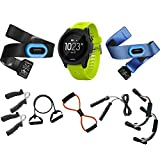 Garmin Forerunner 935 Sport Watch Tri Bundle (Black/Yellow) (010-01746-02) with 7-in-1 Total Resistance Fitness Kit