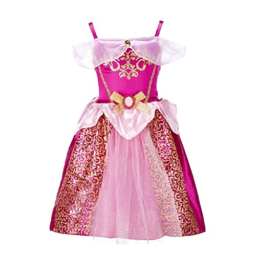 [EITC Girls Princess Dress Costume Red Sleeveless Chiffon Long Dress Party(2-7Y)] (Flower Fairy Costume Ideas)