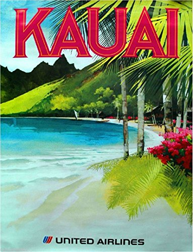 A SLICE IN TIME 1960s Kauai Hawaii Hawaiian Beach United Airlines Vintage Airline United States Travel Advertisement Art Collectible Wall Decor Poster Print. Measures 10 x 13.5 - Hawaiian Art Vintage Beach