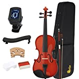Kaizer Reliable Student Violin 1000 Series Standard 4/4 Size Varnished Finish with Included Tuner & Accessories VLN-1000VA-4/4-TNR