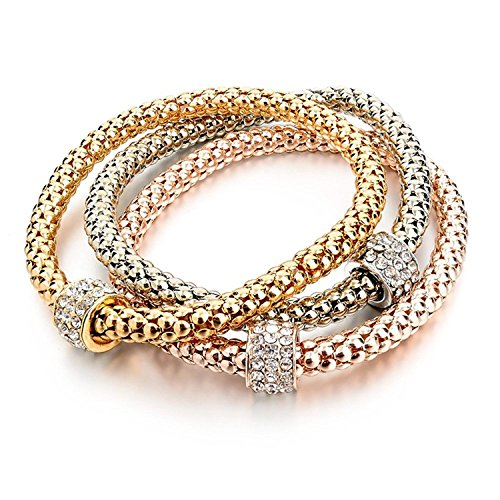 IDB Multilayer 3PC Bracelet Set - Gold/Silver/Rose Gold Tones - Corn Chain with Crystal Charms - Stretch Bracelet Set for Women