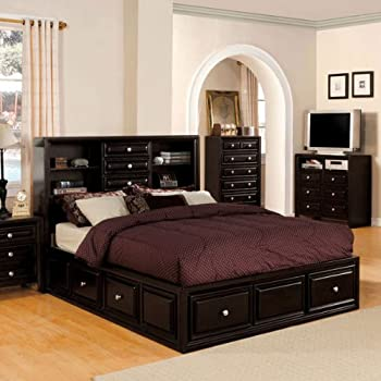Yorkville Transitional Style Espresso Finish Queen Size Bed Frame Set