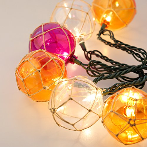 Lidore? Set of 10 New Nautical Fishing Floats Coastal Buoy Beach Style String Lights Set. Warm White Lighting. Orange Clear and Purple by Lidore? (Image #3)