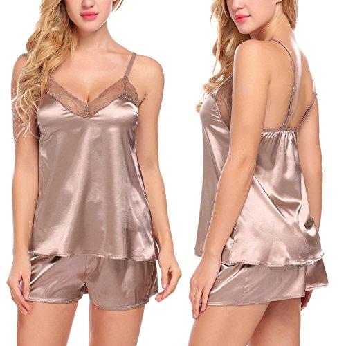 ADOME Women Lace Sleepwear Satin Pajama Cami Shorts Set Nightwear Coffee (Satin Pajamas)