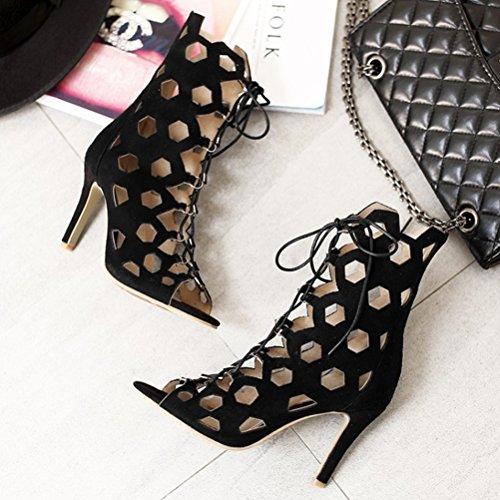 Artfaerie Womens High Heels Lace up Cut Out Court Shoes Peep Toe Summer Ankle Boots Evening Party Pumps Black zaj2PXI