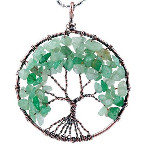 SUNYIK Green Aventurine Eternal Tree of Life Pendant Copper Plated