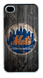 Iphone 4/4s Cover New York Mets Logo, DIY White Skin Sides PC Hard Protector Case of Cecilydreaming by icecream design