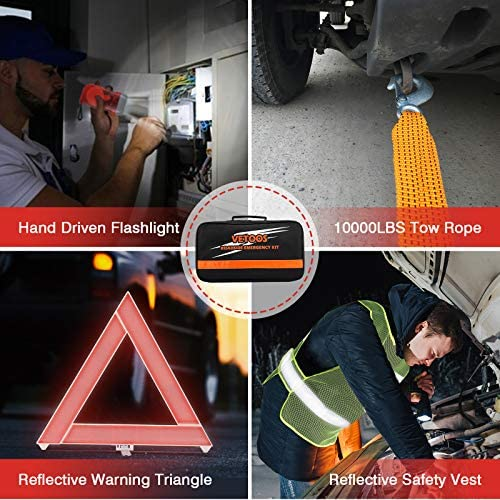 Vetoos Car Roadside Emergency Kit with Jumper Cables, Auto Vehicle Safety Road Side Assistance Kits, Winter Car Kit for Women and Men, with Portable Air Compressor, First Aid Kit, Tow Rope, and so forth