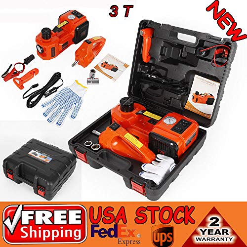 BSTOOL Floor Jacks 12V DC 3.0T(6600 lbs) Electric Hydraulic Floor Jack & Inflator Pump & LED Light 3-in-1 Car Repair Tool Kit with Electric Impact Wrench