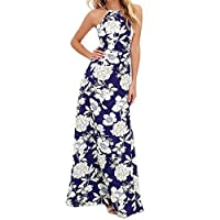 Lamolory Womens Dresses, Floral Print Casual Vintage Dress Boho Midi Sleeveless Dress