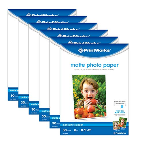"Printworks Matte Photo Paper for Inkjet Printers, Printable on Both Sides, 8 mil, (6 pack bundle) 180 Sheets, 8.5"" x 11"" (00548C)"