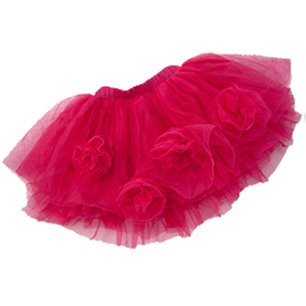 Baby Toddler and Little Girls Soft Tulle Tutu with Flowers Size 12 Months to 5 Meike Trade Co