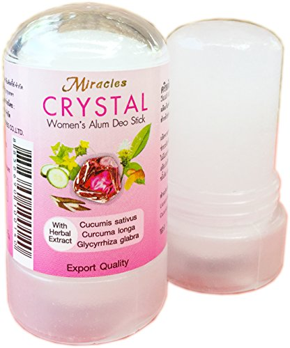 Thai Deodorants Miracles Crystal Women's Alum Deo Stick Not Sticky with Herbal Extract 60g (Pack of 2) (Miracle Deodorant)