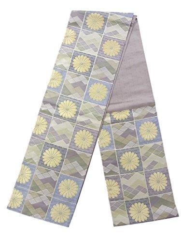 帳面メディック美的リサイクル 袋帯 正絹 六通 市松取りに入子菱や菊の花模様