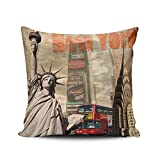 WULIHUA Pillow Covers New York Statue of Liberty Sofa Modern Pillow Case Decorative Throw Pillow Cases Double Sides Printed Square 22x22 Inches