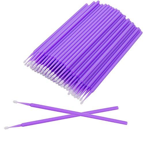 Micro Applicators Brush Bendable Mascara Wands Micro Fiber Lint Brush for Makeup Eyelash Extensions and Personal Care, Head Diameter: 1.5mm ()