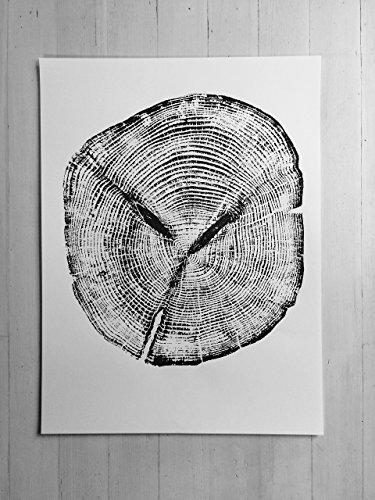 Ketchikan Alaska. Cedar Wood Tree ring Print. Original Woodblock Print 18x24