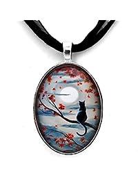 Black Cat in Silvery Moonlight Autumn Handmade Art Pendant
